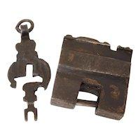 Antique Chinese Iron Padlock Lock and Key