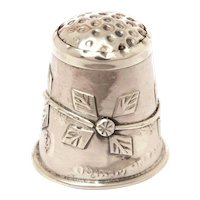Mexican Sterling Thimble with Quilt Star Design, Naive Design