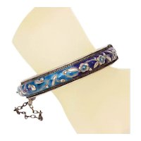 Antique Chinese Enamel Hinged Bangle Bracelet, Silverplate Raised Flowers Leaves