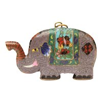 "Cloisonne Elephant Pendant, Large 2.5 x 1.5"", Good Lucky Symbol Trunk Up"