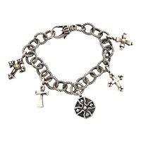 Ann King Cross Charm Bracelet Sterling with 18k Gold Details