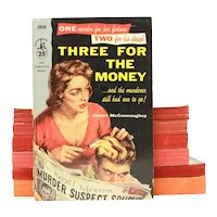1955 Three For The Money Pulp Fiction Paperback by James McConnaughey, Pocket Books #1050, Murder Mystery UNREAD?
