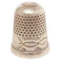 Antique Sterling Thimble Impressed Navajo Indian Design, Size 7