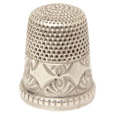 Antique Sterling Thimble Simons Brothers Diamonds and Fans Palmettes Size 8
