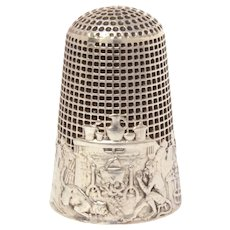 French De La Fontaine Fable Sterling Thimble The Monkey & The Cat, Bertrand and Ratter, Lenain et Cie