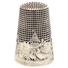 Sterling Fable Thimble, French La Fontaine Two Pigeons or The Two Doves