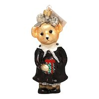Christopher Radko Christmas Ornament Muffy VanderBear Portrait in Black and White, Box & Tag