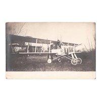 Antique RPPC World War I German FE 2 Pusher Biplane, WWI Sepia Real Photo Postcard