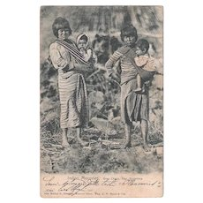 Antique Postcard Indios Mocovies of Argentina, circa 1910 Photo Native Indians South America