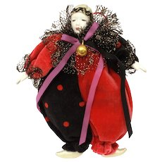 1980s Stuffed Velvet Pierrot Christmas Ornament with Bisque Face and Hands