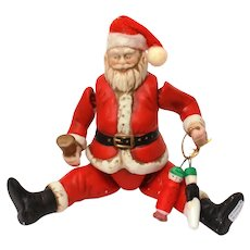 Christmas Ornament Ceramic Jointed Santa Claus by Silvestri