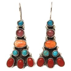 V&C Hale Navajo Sterling Pierced Earrings by Vernon and Clarissa Hale