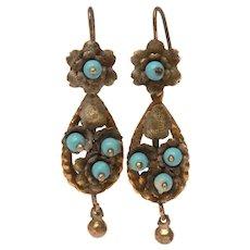 Brass & Bead Pierced Tear Drop Dangle Earrings