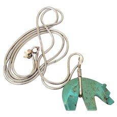 "Turquoise Bear Fetish on Long 32.5"" Sterling Chain, Native American Spirit Animal"
