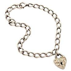 Walter Lampl Sterling Puffy Heart Lock Charm on Chain Bracelet