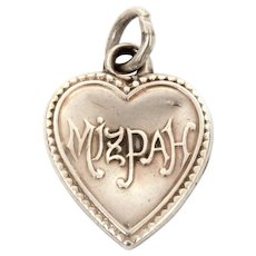 Mizpah Sterling Puffy Heart Charm, Engraved Name Billy