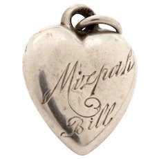 Small Antique Sterling Puffy Heart Charm Engraved - Mizpah Bill Germany 4-7-6