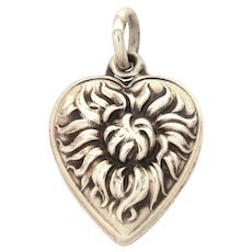 Old Fashioned Shaggy Mum 1940's Sterling Puffy Heart Charm Chrysanthemum, Pom Pom Flower Engraved Name Ray