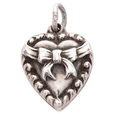 Sterling Puffy Heart Charm Ribbon & Bow Design Engraved Name Billy