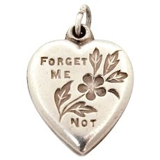 Sterling Puffy Heart Charm Forget Me Not Flowers, Engraved Europe 1957