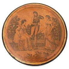 Circa 1830 Snuff Box Lacquer Papier Mache L'Embarras du Choix, Garden Scene Man & 2 Women