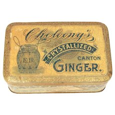 Antique Advertising Tin Cheloong's Crystallized Canton Ginger, Imported by Edward Benneche, Wax Seal
