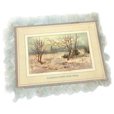 Victorian Silk Fringe Card with Glass Glitter WINTER BLESSINGS Chromolithograph, Double Sided