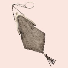 Blackinton Sterling Mesh Purse on Finger Ring with Chain Tassel Tip