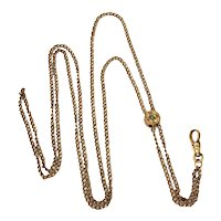 Antique Ladies Pale Gold Filled Watch Chain with Seed Pearl Slide, Lorgnette Holder, Muff Guard