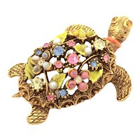 ART Turtle Pin with Rhinestones, Glass Beads, Costume Pearls, and Enamel Details