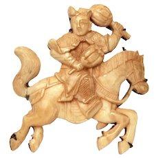 Antique Japanese Pin Samurai on Horse