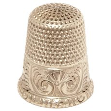 Antique Sterling Thimble Ketcham & McDougall Size 8, Engraved Design Palmettes circa 1890, MKD KMD
