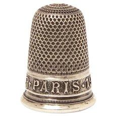 Sterling Thimble 1900 Paris Exposition Universelle by Lenain et Cie, Size 10