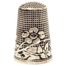 French Sterling Thimble Wild Rose Bough by Lenain et Cie, Size 10