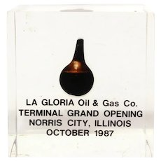 La Gloria Oil & Gas Advertising, Acrylic Encased Oil Drop Paperweight