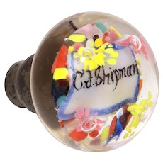 Antique Art Glass Door Knob Encased Name CJ Shipman