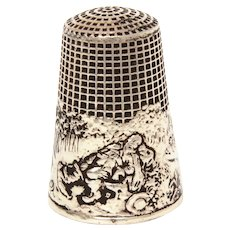 Sterling Thimble French Fable Fairy Tale by Lenain et Cie Jack and The Beanstalk or Rip Van Winkle, Size 8
