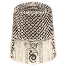Antique Sterling Ketcham and McDougall Paneled Thimble with Paisley Scrolls, Size 12, MKD KMD