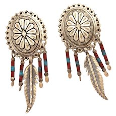 Sterling Southwest Concho Earrings Pierced Dangles with Feather Charm & Tube Beads