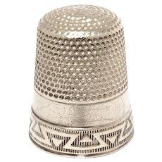Sterling Thimble Waite Thresher Size 12 Stylized Greek Key Design, Needle Hole