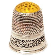 Sterling Thimble Yellow Glass Honeycomb Top, Size 10, Germany