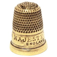 Victorian HER MAJESTY THIMBLE Brass England, Antique Sewing, Queen Victoria, some needle holes