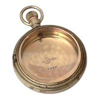 Crescent Trade Mark Pocket Watch Case #3444, Thick Beveled Crystal, Swing Out Case for Lever Set Watch, Nickel Silver