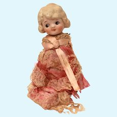 """Bisque Blonde Girl Doll Made in Japan Pink Fabric and Lace, 5.5"""" Tall , NO ARMS"""