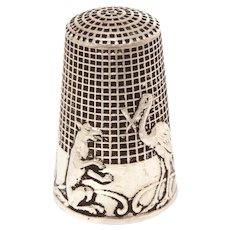 Sterling Thimble French Fable The Wolf  & The Crane by De La Fontaine, French Size 8 by Lenain et Cie