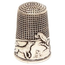 Sterling Thimble French Fable The Cock & The Fox by De La Fontaine, French Size 9 by Lenain et Cie