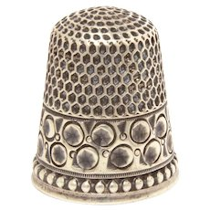 Antique Sterling Thimble, Size 7,  Anchor Maker's Mark, Impressed Circles Starburst Centers