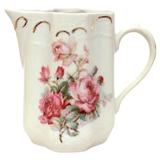 """Antique Bavarian Porcelain Pitcher with Pink Roses 6.5"""" High"""