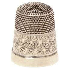 Antique Sterling Child Size Sewing Thimble, English Size 10, Classic Design