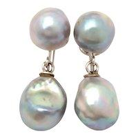 14k Gray Baroque Pearl Dangle Earrings, White Gold Screw Backs
